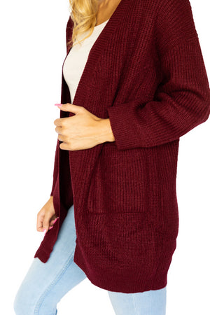 Solid Open Sweater Cardigan