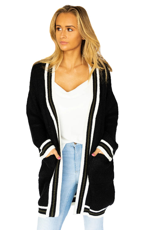 Striped Hem Open Sweater Cardigan