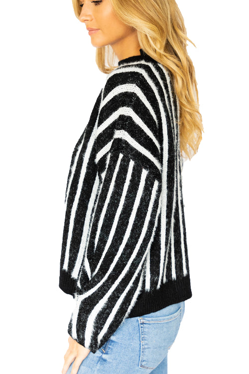 Long Sleeve Mohair Striped Sweater
