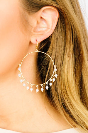 Pearl Embellished Drop Hoops