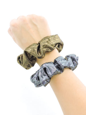 Mixed Metal Ribbed Scrunchie