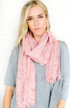 Pastel Sheer Lace Trim Scarf