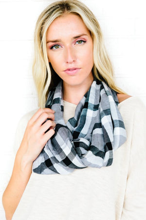 Neutral Plaid Sheer Infinity Scarf