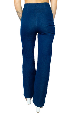 Zip Front Retro Bell Leg Denim Pant- Medium Wash