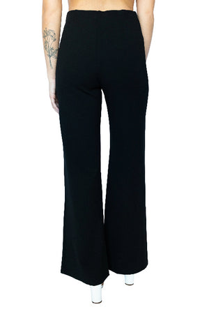 Zip Front Retro Bell Leg Stretch Pant- Black