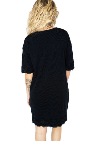 Lace Trim Ribbed Sweater Dress