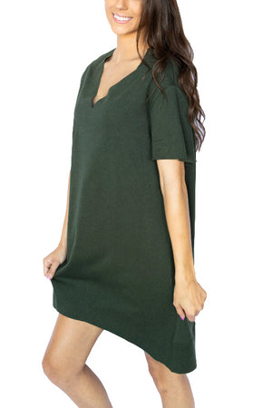 Short Sleeve Vneck Knit Dress