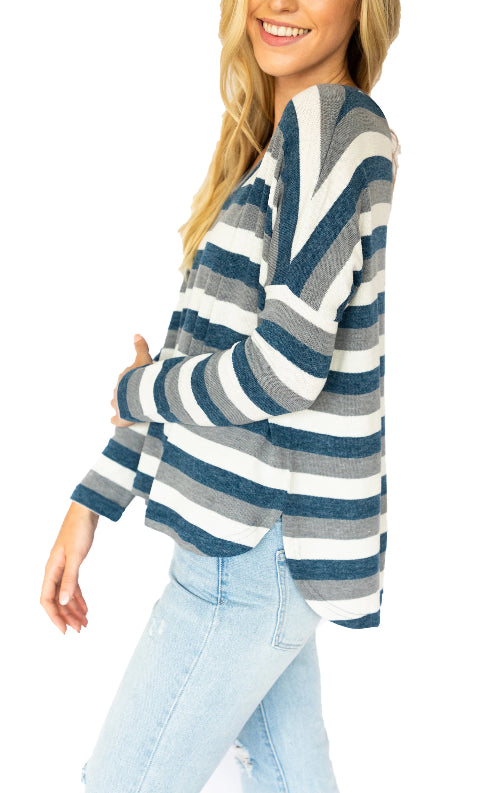 Soft Knit Striped Vneck Sweater