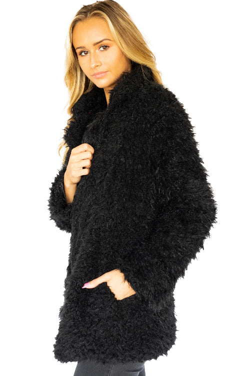 Long Sleeve Fuzzy Open Collared Jacket