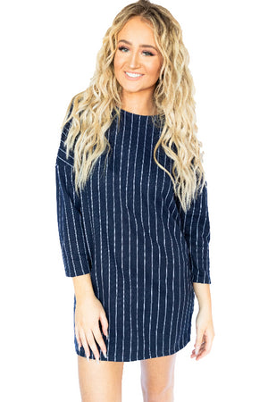 3/4 Sleeve Knit Pinstriped Dress- Navy