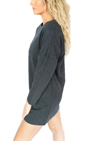 3/4 Sleeve Solid Knit Dress- Charcoal