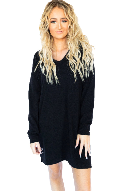 Long Sleeve Vneck Sweater Dress