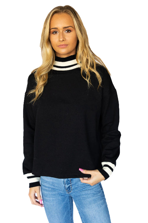 Mock Neck Varsity Stripe Sweater