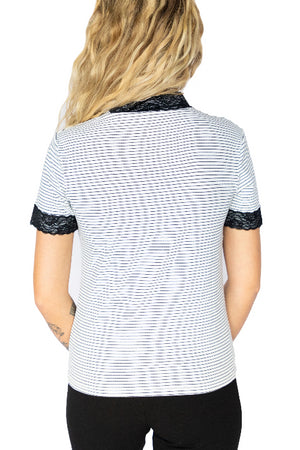 Short Sleeve Ribbed Lace Trim Tee