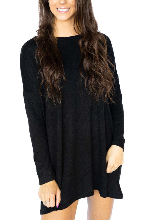 Long Sleeve Scoop Neck Sweater Tunic