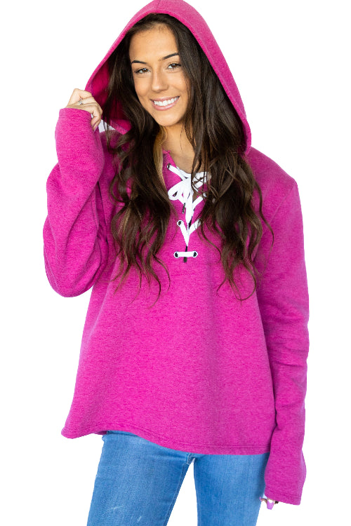 Long Sleeve Relaxed Lace Up Hoodie- Deep Pink