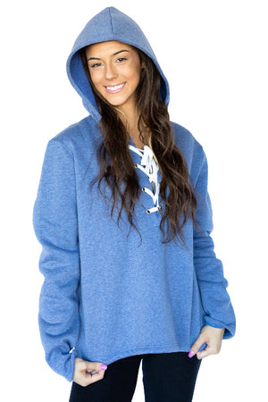 Long Sleeve Relaxed Lace Up Hoodie- Light Blue