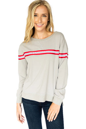 Chest Stripe Crewneck Boyfriend Sweater