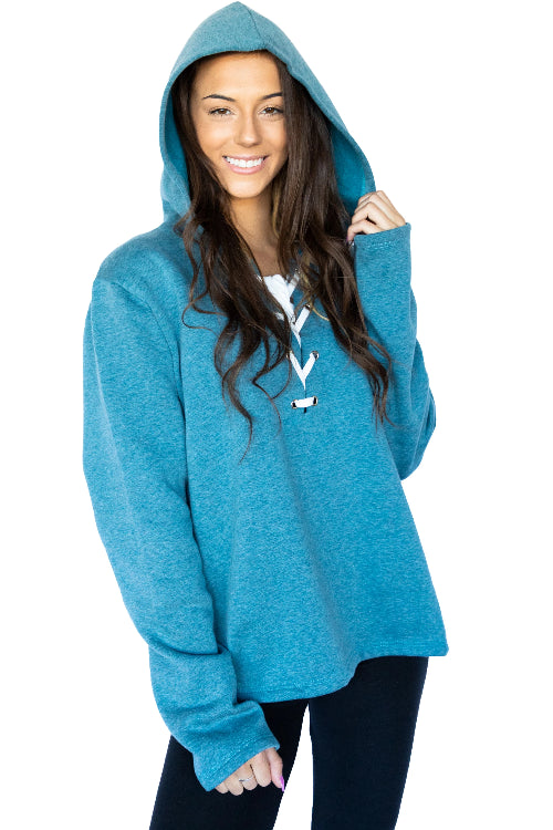 Long Sleeve Relaxed Lace Up Hoodie- Teal