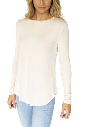 Long Sleeve Viscose Scoop Neck Tee