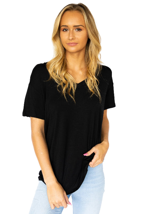 Short Sleeve Viscose Vneck Tee