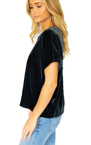 Short Sleeve Ribbon Trim Velvet Top