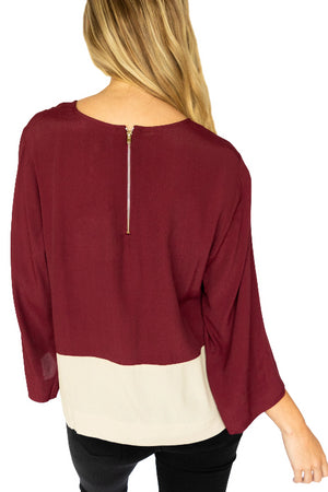 Long Sleeve Woven Colorblock Top