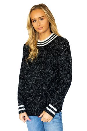 Varsity Stripe Cable Knit Sweater