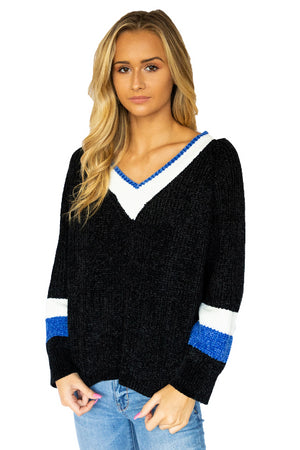 Colorblock Chenille Vneck Sweater