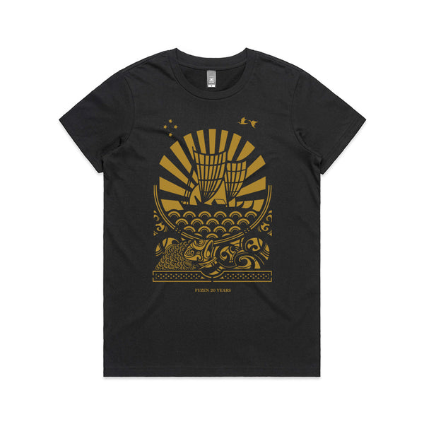 Fuzen Ship Womens Tee Black/Gold