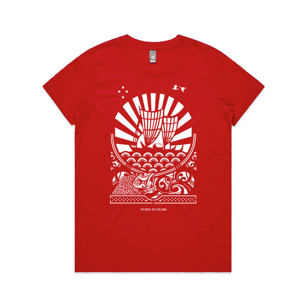 Fuzen Ship Womens Tee Red/White