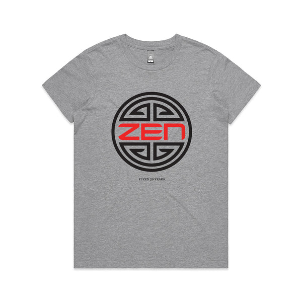 Zen Logo Womens Tee Grey/Black-Red Logo