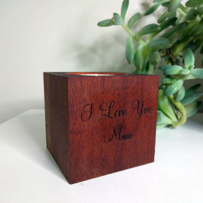 Salvaged Rosewood Candle Holder (personalised option)