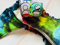 SIZE 1 DIAPER TKB RAINBOW SKULLS W/ DYED CV AND NEON SNAPS