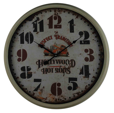 Clock Hollywood Hot Rods Metal Glass Framed Wall Decor