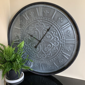 Clock Country French Roman Wall Hanging Metal Frame Glass Front
