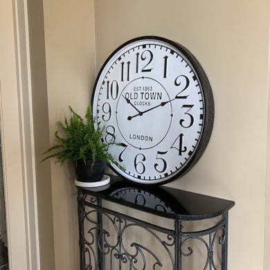 Clock Large Country Old Town Wall Hanging Metal Frame Glass Front Home Decor