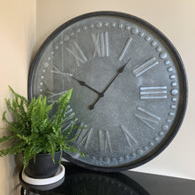 Load image into Gallery viewer, Clock Large Roman Wall Hanging Metal Frame Glass Front Home Decor
