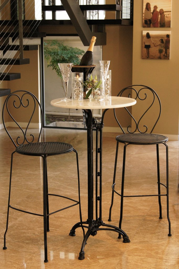Bar Setting Bella Marble Bar Table Cast Iron 2 Bar Chairs Solid Metal Indoor Outdoor Garden