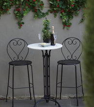 Load image into Gallery viewer, Bar Setting Bella Marble Bar Table Cast Iron 2 Bar Chairs Solid Metal Indoor Outdoor Garden