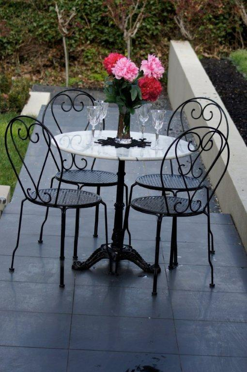 Patio Setting Bella 5 piece Cafe Dining Indoor Outdoor 80cm Round Marble Table Cast Iron Base 4 Chairs
