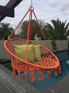 Macrame Hanging Chair Orange Woven Hammock Swing Retro Indoor Outdoor
