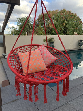 Macrame Hanging Chair Raspberry Woven Hammock Swing Retro Indoor Outdoor