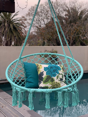Macrame Hanging Chair Spearmint Woven Hammock Swing Retro Indoor Outdoor