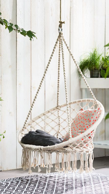 Macrame Hanging Chair White Woven Hammock Swing Retro Indoor Outdoor
