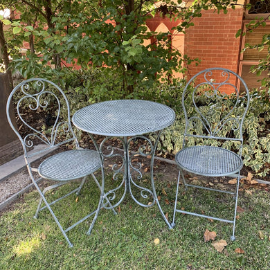 Patio Setting Chloe Verdi 3 Piece Bistro Balcony Pool Deck Metal Steel Garden Furniture Outdoor Home Decor