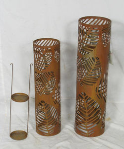 Candle Holder Metal Lantern Rustic Laser cut Decorative Home Garden Decor Set 2