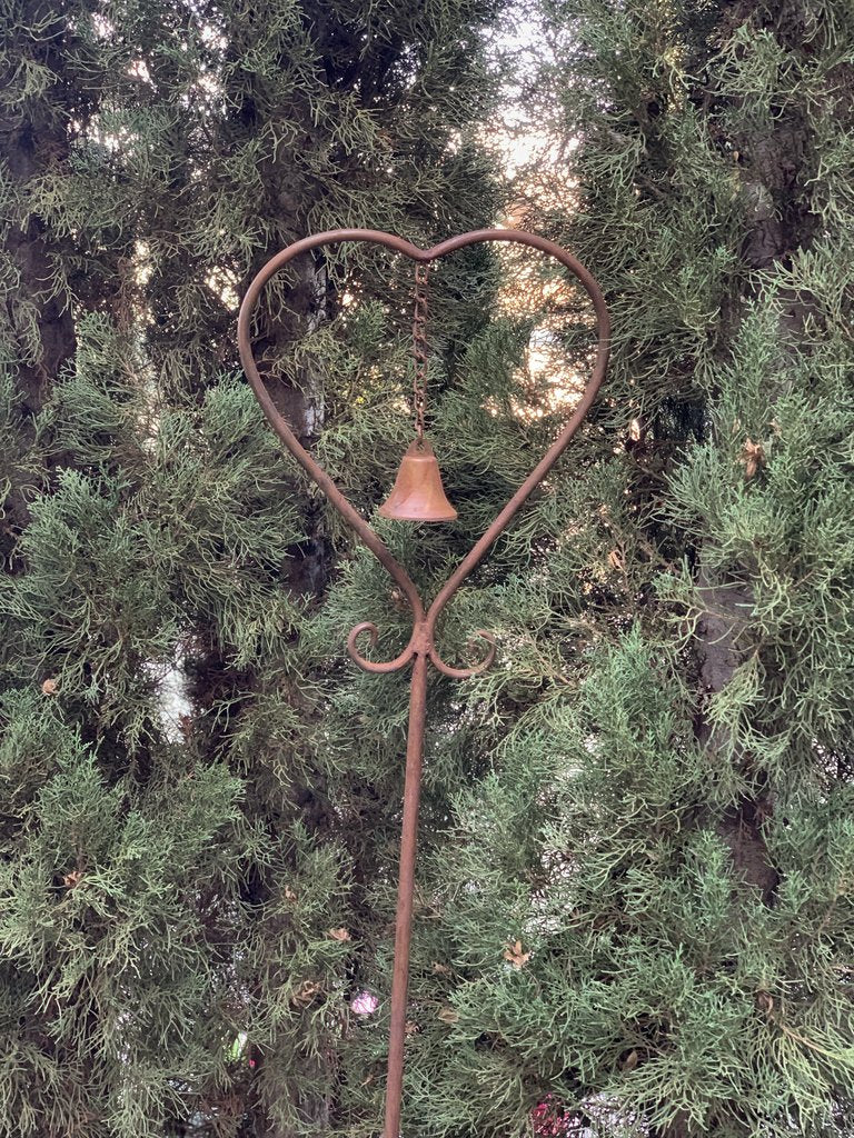 Garden Stake Rust Metal Heart Bell Decor