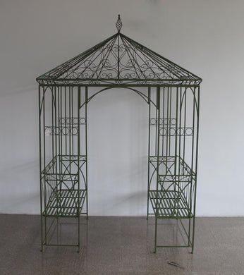 Gazebo With Bench Seats In Antique Green