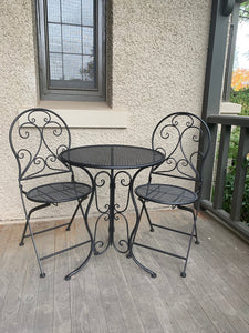 Patio Setting Mia 3 Piece Bistro Balcony Pool Deck Metal Steel Black Garden Furniture Outdoor Home Decor